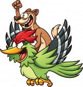 pic of woodpecker  - A weasel riding a woodpecker - JPG