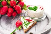 foto of curd  -  A bowl with curd and radish and a heart shaped chives decoration and brown bread - JPG
