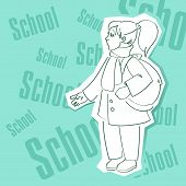 stock photo of diligent  - Intelligent and diligent schoolgirl with a portfolio goes to school lessons - JPG