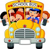 image of bus driver  - Vector illustration of School Kids cartoon Riding a School Bus - JPG
