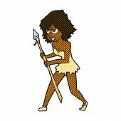 picture of cave woman  - retro comic book style cartoon cave girl - JPG