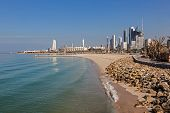 picture of kuwait  - Arabian Gulf beach and the skyline of Kuwait City Middle East - JPG