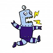 picture of terrifying  - retro comic book style cartoon terrified robot - JPG