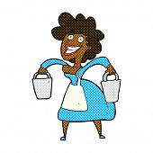 pic of milkmaid  - retro comic book style cartoon milkmaid carrying buckets - JPG