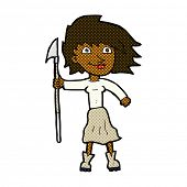 pic of spears  - retro comic book style cartoon woman with spear - JPG