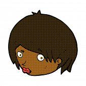 picture of raised-eyebrow  - retro comic book style cartoon female face with raised eyebrow - JPG