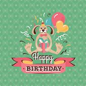 picture of hare  - Vintage birthday greeting card with a hare holding a present on a geometric background - JPG