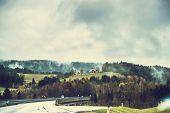 image of asheville  - Beautiful modern road  passing through the mountainous part of Austria - JPG