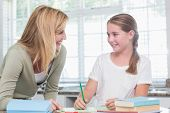 picture of homework  - Happy mother helping daughter doing homework at home in the kitchen - JPG