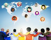pic of huddle  - Global Community World People Social Networking Connection Concept - JPG