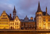 picture of gents  - The historic center of Gent embankment Graslei. Former center of the medieval harbor.