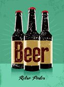 image of drawing beer  - Vintage grunge style poster with a beer bottles - JPG
