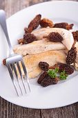 pic of morel mushroom  - chicken and mushrooms - JPG