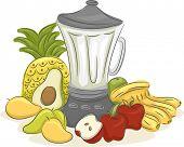 foto of blender  - Illustration of an Electric Blender Surrounded by Different Fruits - JPG