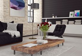 pic of 3d  - 3d Modern living room interior in black and white decor with textured brick walls - JPG