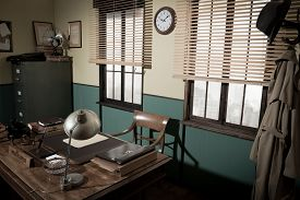 pic of 1950s style  - 1950s style office with director - JPG