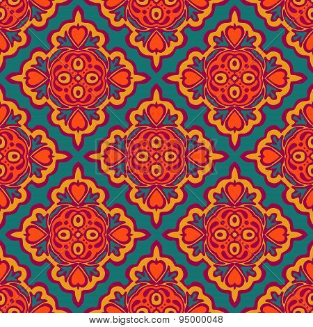 Festive Colorful Tribal ethnic seamless vector pattern ornamental