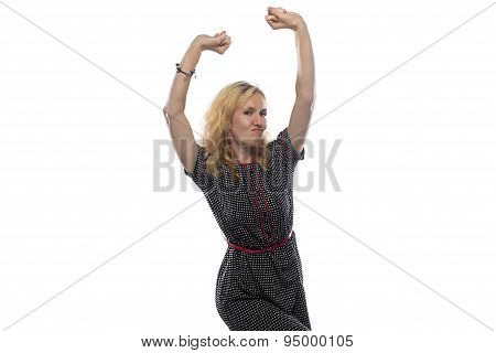 Photo of woman with blond hair, hands up