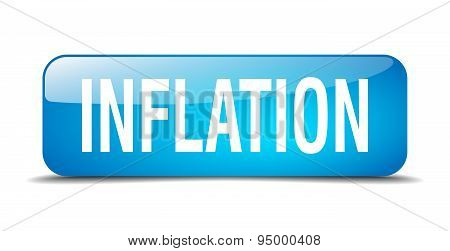Inflation Blue Square 3D Realistic Isolated Web Button