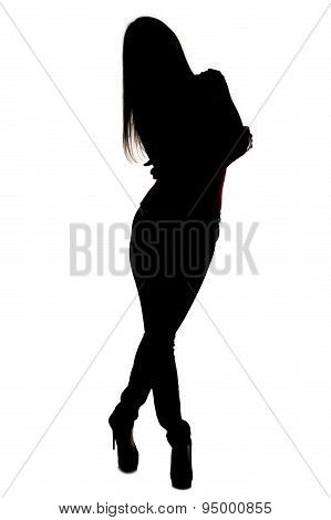 Silhouette slim woman with leaning head