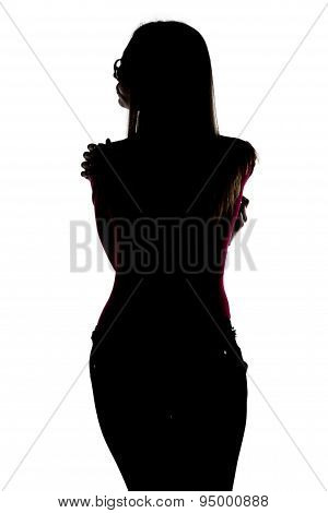 Silhouette of young woman looking from back