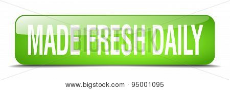 Made Fresh Daily Green Square 3D Realistic Isolated Web Button