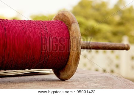 Spool Of Glass Covered Thread Used In Kite Fighting
