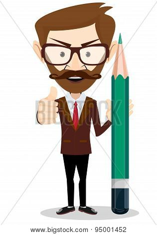 Man-Teacher with a pencils, Stock vector illustration