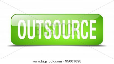 Outsource Green Square 3D Realistic Isolated Web Button