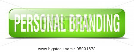 Personal Branding Green Square 3D Realistic Isolated Web Button