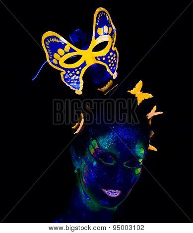 Photo of woman with luminous mask