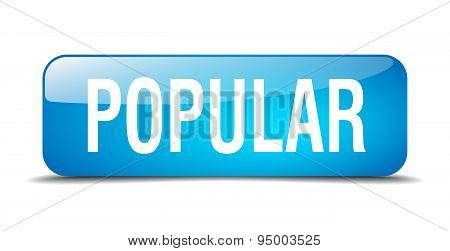 Popular Blue Square 3D Realistic Isolated Web Button