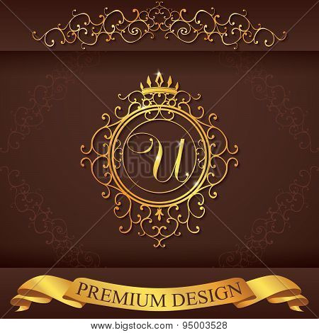 Letter U. Luxury Logo Template Flourishes Calligraphic Elegant Ornament Lines. Business Sign, Identi
