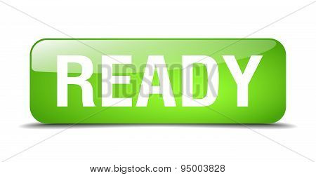 Ready Green Square 3D Realistic Isolated Web Button