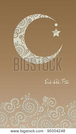 Crescent moon decorated with zentangle for muslim community festival  Eid Al Fitr Mubarak.