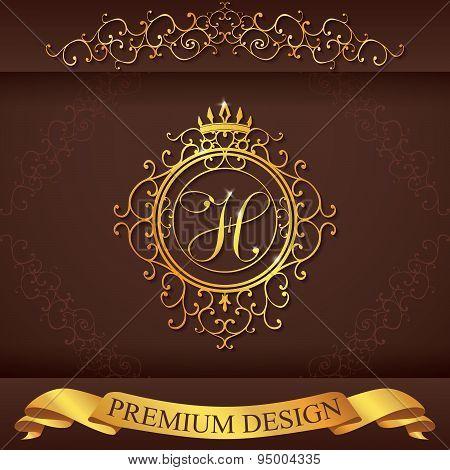 Letter H. Luxury Logo Template Flourishes Calligraphic Elegant Ornament Lines. Business Sign, Identi