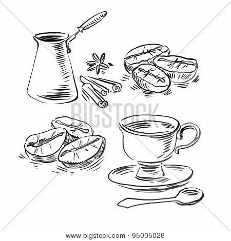 Hand drawn illustration of Coffee beans, coffee cup and cocktail glass