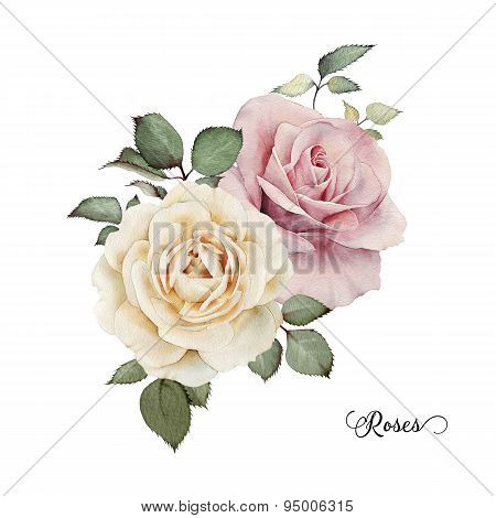 Bouquet Of Roses, Watercolor, Can Be Used As Greeting Card, Invitation Card For Wedding, Birthday An