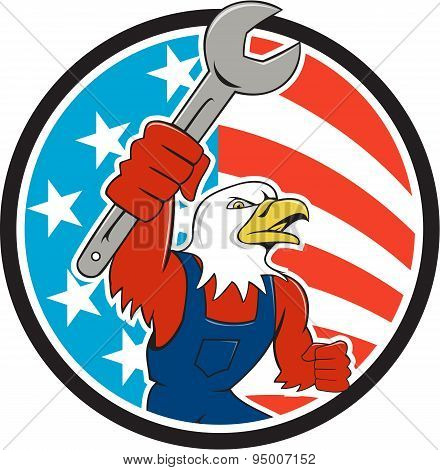 American Bald Eagle Mechanic Spanner Circle Usa Flag Cartoon