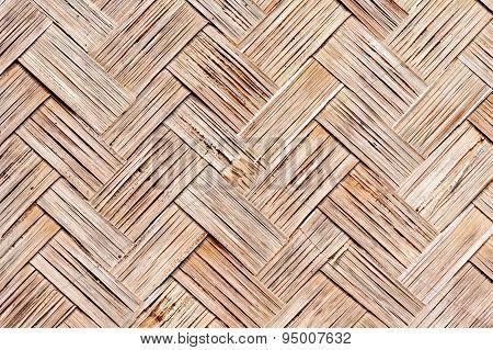 Close Up Old Woven Flat Mat  Bamboo Grass