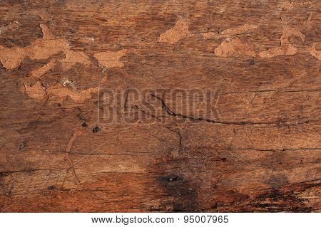 Close Up Old Wood That Support The Railway Texture Background