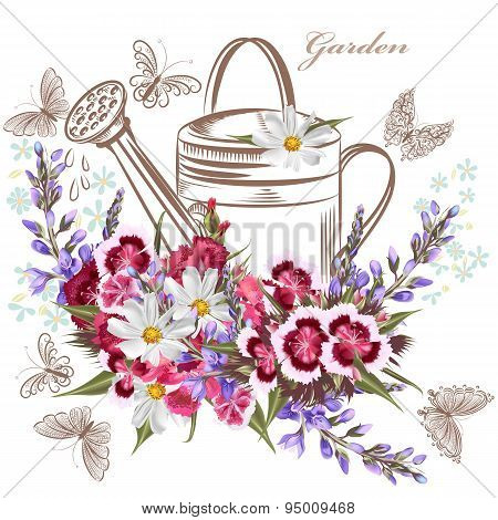Vector Background With Garden Flowers And Butterflies
