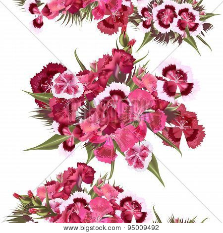 Seamless Pattern With Realistic  Pink Flowers