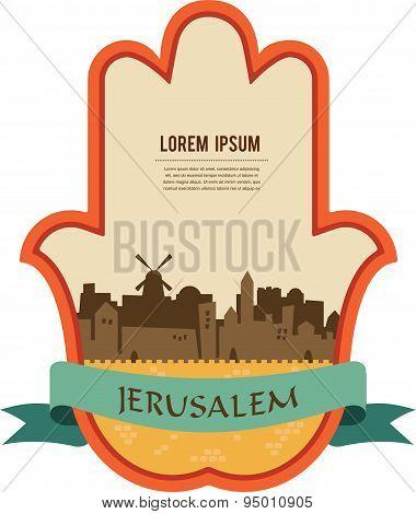 Jerusalem skyline inside hamsa hand