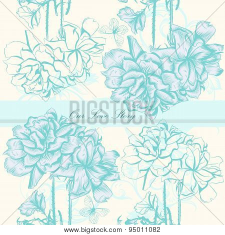 Vector Wedding Invitation Card With Flowers