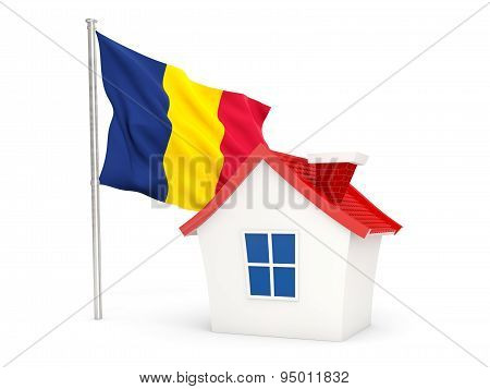 House With Flag Of Chad