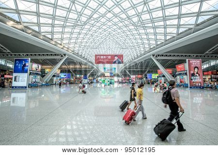 Guangzhou,china - June,14,2015:the Guangzhou South Railway Station Is The New And Modern Railway Sta