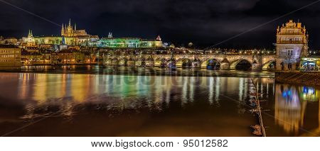 Panorama Of Prague Castle At Night