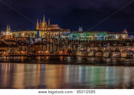 View Of Prague Castle At Night