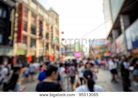 Peoples Shopping Blur View In Guangzhou China.